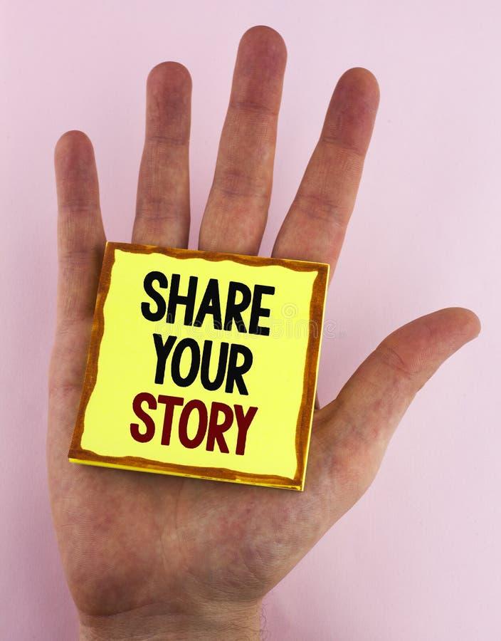 Part des textes d'écriture de Word votre histoire Le concept d'affaires pour indiquent les expériences personnelles parlent vous- image stock