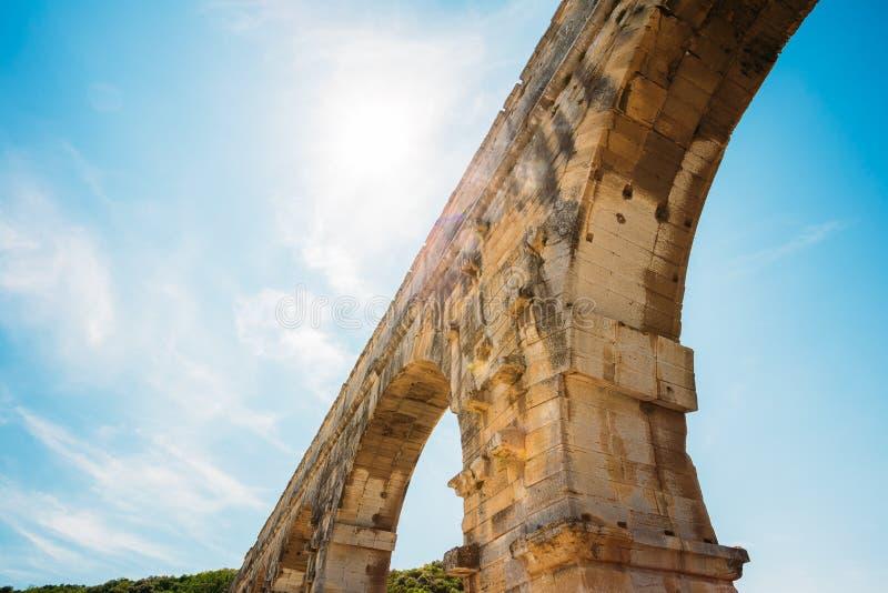 Part detail of famous landmark ancient old Roman aqueduct of Pont stock image