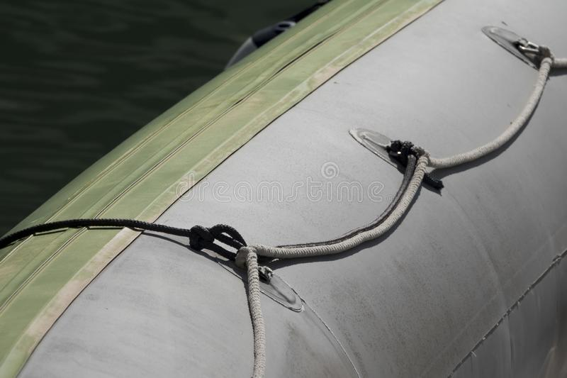 Close-up view of a dinghy. Part of a dinghy with rope to hold, Costa del Sol, Spain royalty free stock image