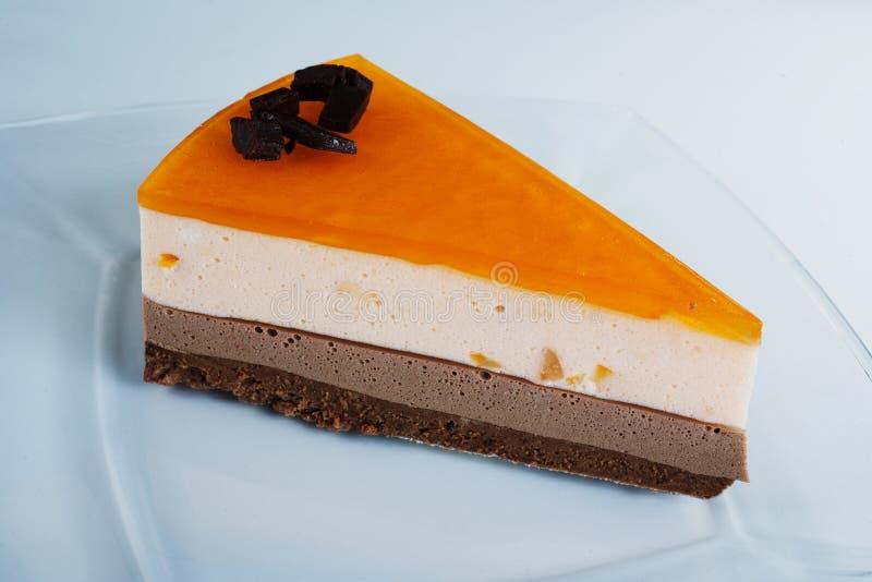Part du gâteau crème images stock