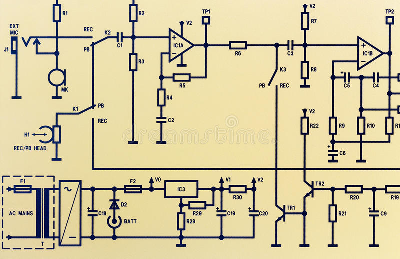 Part of an electronic circuit diagram stock images
