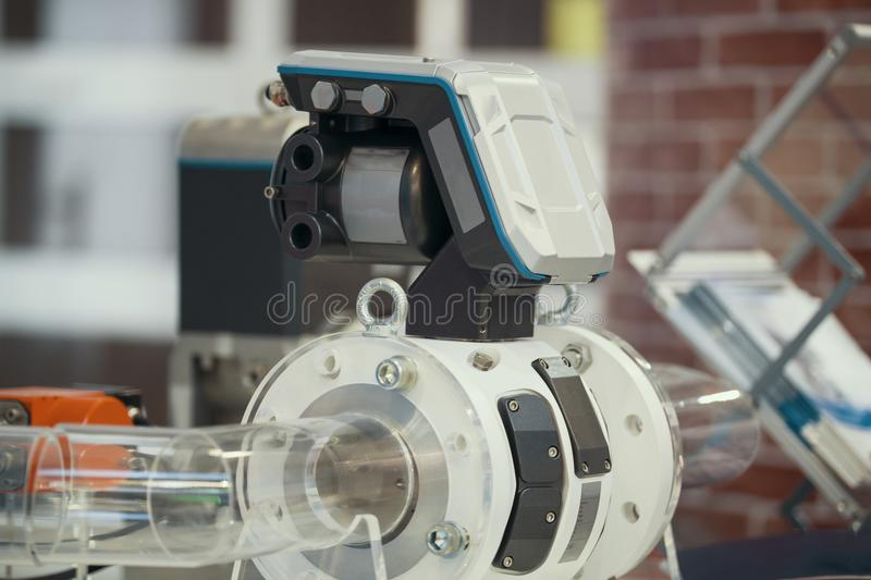 Part of extrusion manufacturing line - extruder, close up. View stock photography