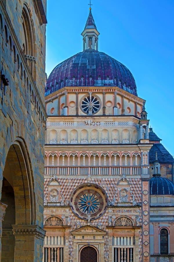 Part of facade from Basilica Santa Maria Maggiore, Bergamo, Ital. Part of facade from Basilica of Santa Maria Maggiore, Cappella Coleoni, Piazza Duomo, Bergamo royalty free stock image