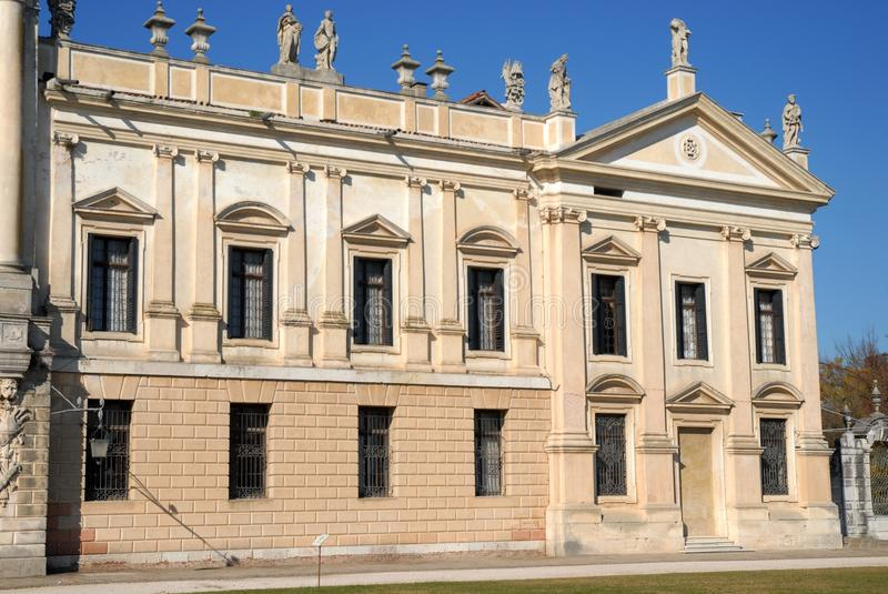 Part of the facade to the right of the entrance of the Villa Pisani at Stra which is a town in the province of Venice in the Venet royalty free stock photo