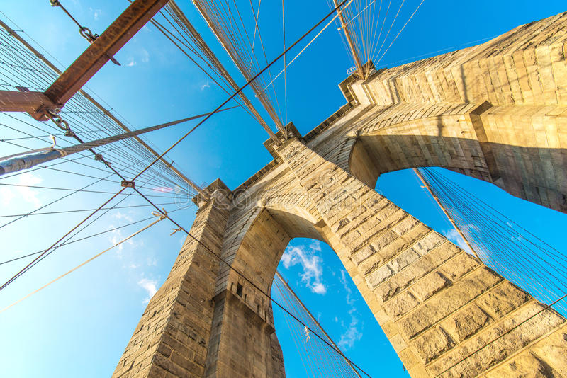 Part of famous Brooklyn bridge royalty free stock photos