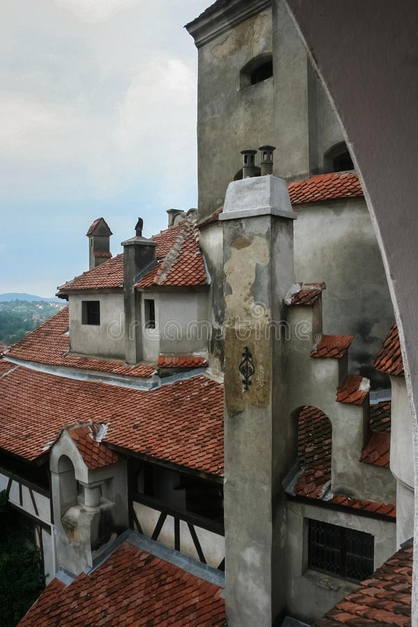 Detailed capture of Bran castle in Transylvania, Romania in  eastern Europe royalty free stock photography