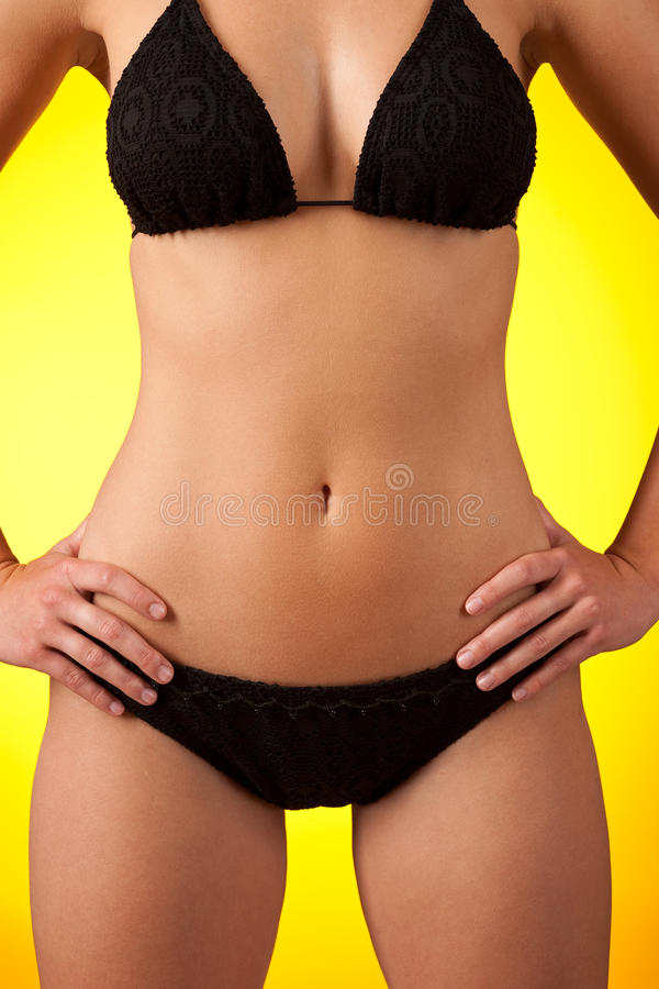 Download Part Of Female Body Wearing Black Bikini Stock Image - Image: 10597321