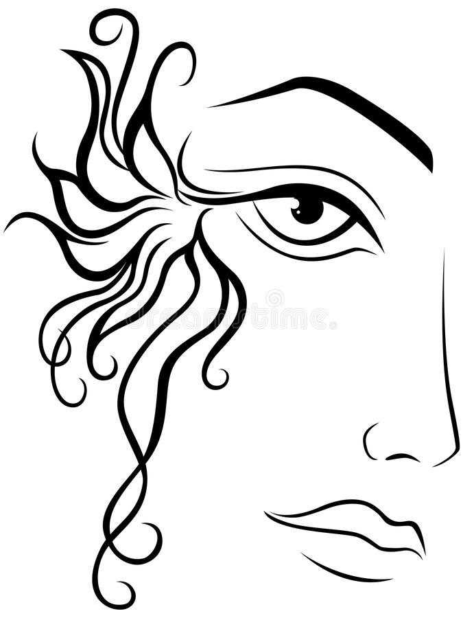 Abstract Face Line Drawing : Part of female face stock vector illustration