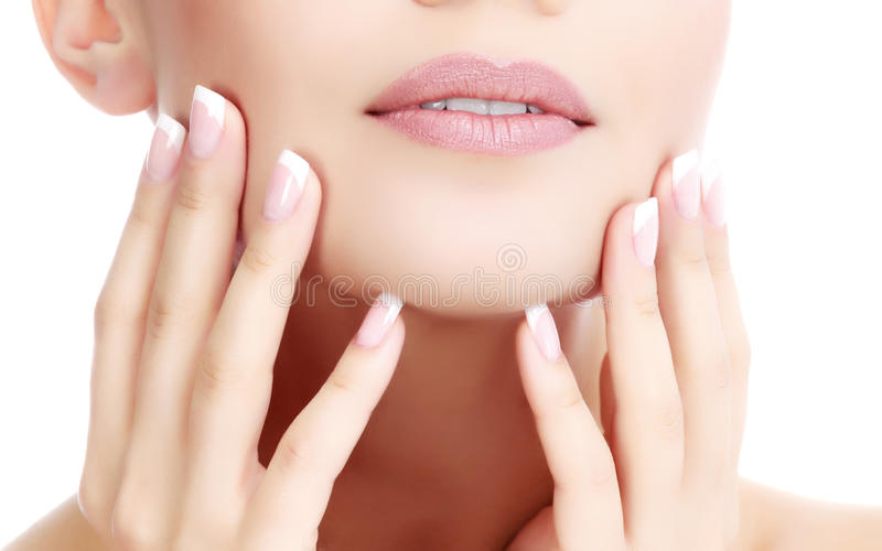 Part of female face and hands royalty free stock photos