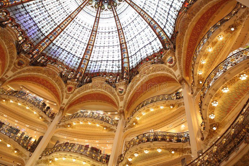 Part of the floors aGaleries Lafeyette in Paris stock photography
