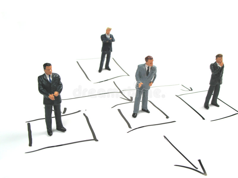 Part of flowchart. Managers standing in a flowchart stock images
