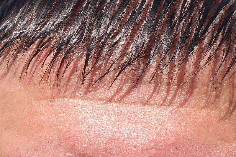 Part of the forehead of a mature man with a short black fringe stock photos