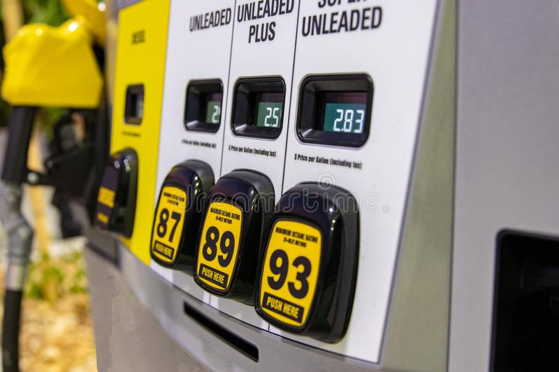 Part of fuel pump with three buttons for choose different category of gasoline. In South Florida stock image