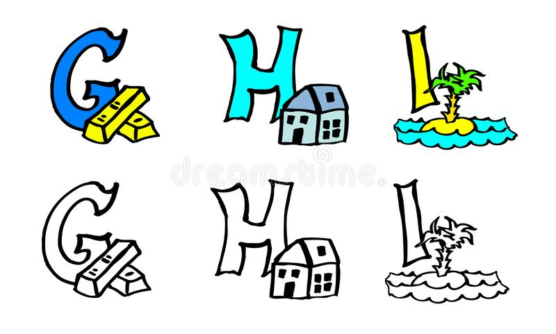 Part 3 g h i coloring book letters with pictures in german and english stock illustration