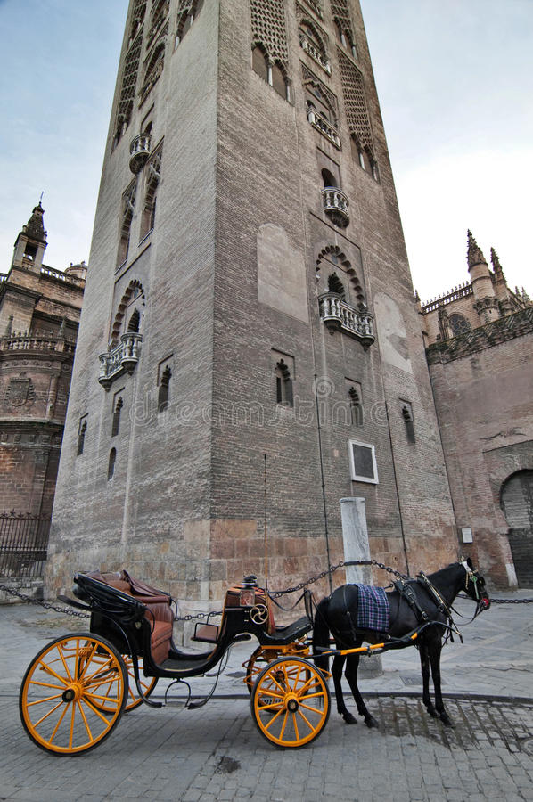 A part of the Giralda tower and a carriage in Sevilla, Spain. The Giralda tower and a typical carriage and a black horse, waiting for the clients, in Sevilla royalty free stock image