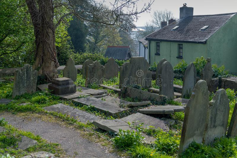 St Illyds Church Graveyard Bridgend. A part of the graveyard at St Illyds church is across the road, from the main yard. Newcastle hill Bridgend, UK royalty free stock photography