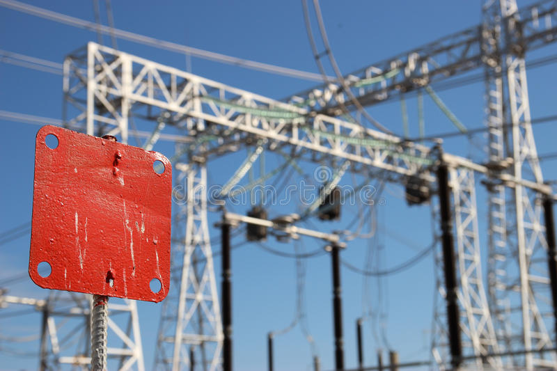 Part of high-voltage substation stock photos