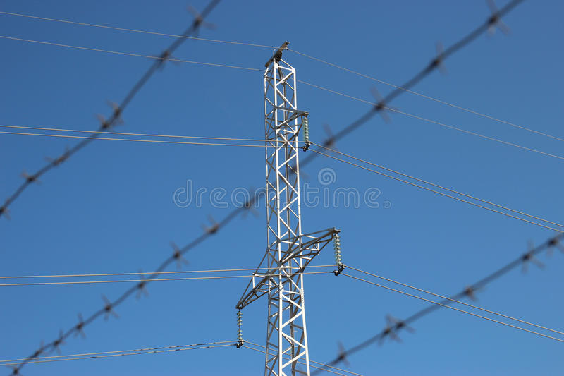 Part of high-voltage substation stock photography