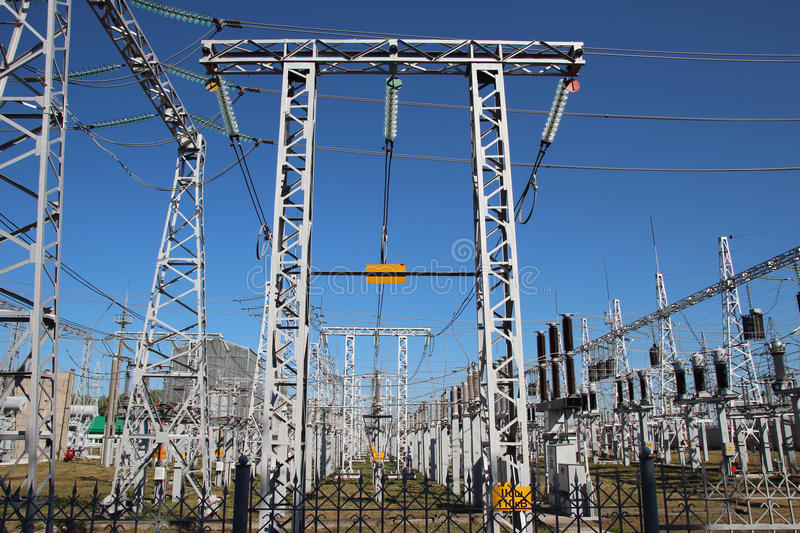 Part of high-voltage substation royalty free stock photos