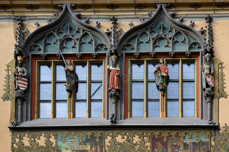 Part of historic Town Hall with beautiful paintings and statues, Ulm, on Romantic Road in South Germany stock images