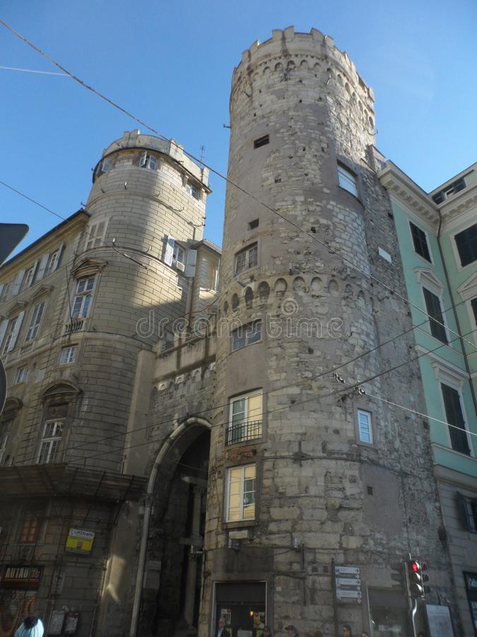 Porta Dei Vacca in Genova. A part of the historic wall of Genova with the gate known as the Porta Dei Vacca stock photos