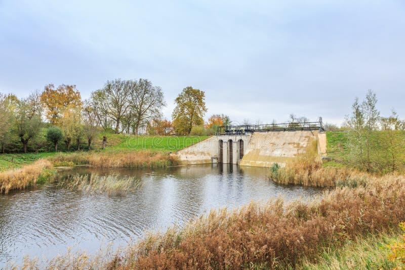 Part of Historical Dutch defense line, Nieuwe Hollandse Waterlinie,. Beersluis, Inlet sluice of Fort Everdingen for the flooding of the Nieuwe Hollandse royalty free stock photography