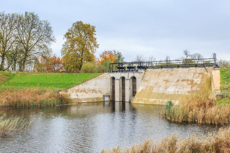 Part of Historical Dutch defense line, Nieuwe Hollandse Waterlinie,. Beersluis, Inlet sluice of Fort Everdingen for the flooding of the Nieuwe Hollandse royalty free stock photos
