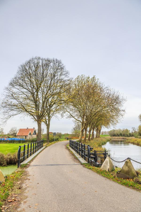 Part of Historical Dutch defense line, Nieuwe Hollandse Waterlinie,. Bridge over Inlet sluice of Fort Everdingen for the flooding of the Nieuwe Hollandse stock photo