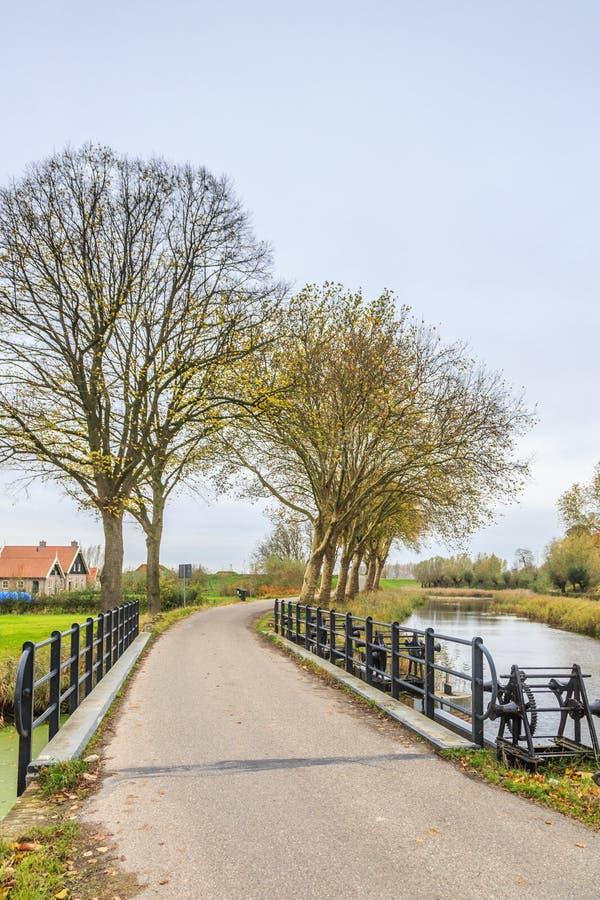 Part of Historical Dutch defense line, Nieuwe Hollandse Waterlinie,. Bridge over Inlet sluice of Fort Everdingen for the flooding of the Nieuwe Hollandse stock images