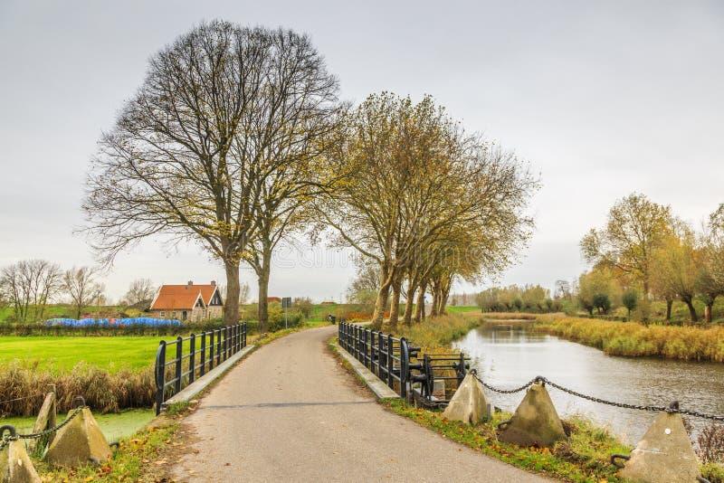 Part of Historical Dutch defense line, Nieuwe Hollandse Waterlinie,. Bridge over Inlet sluice of Fort Everdingen for the flooding of the Nieuwe Hollandse royalty free stock images