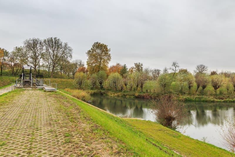 Part of Historical Dutch defense line, Nieuwe Hollandse Waterlinie,. On top of Beersluis, Inlet sluice of Fort Everdingen for the flooding of the Nieuwe royalty free stock image