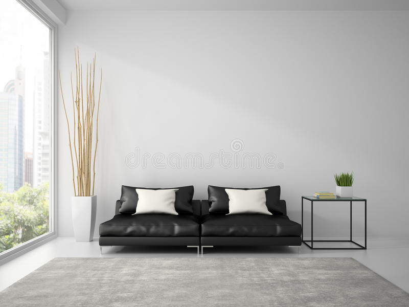 Part of interior with black sofa and white pillows 3D rendering royalty free stock image