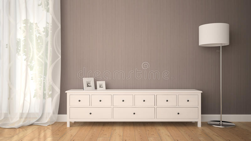 Part of interior with cabinet royalty free illustration