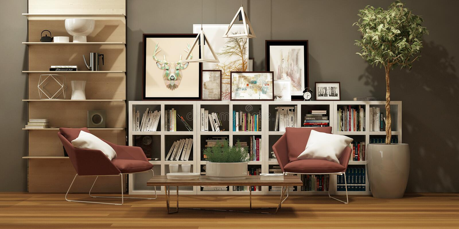 Modern house interior with library, pictures and a pair of red armchairs in scandinavian style stock photo