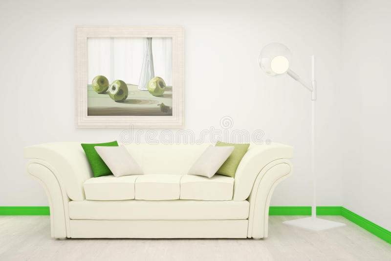 Part of the interior of the living room in white and green colors with a large painting on the wall. stock illustration