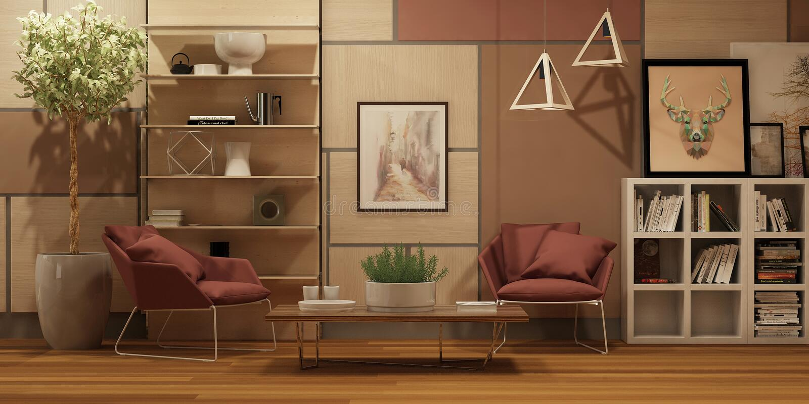 Modern interior with wall wooden panels, pictures and two red armchairs in scandinavian style stock photos