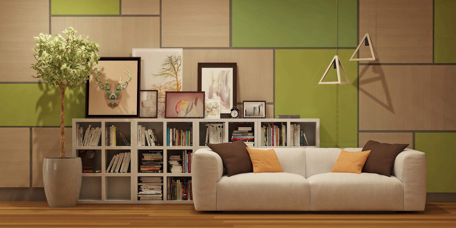 Modern interior with wall wooden panels, pictures and white in scandinavian style stock photos