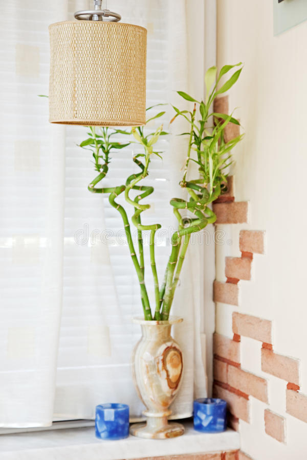 Download Part Of Interior With Wicker Chandelier And Bamboo Stock Photo - Image of detail, brown: 11088898