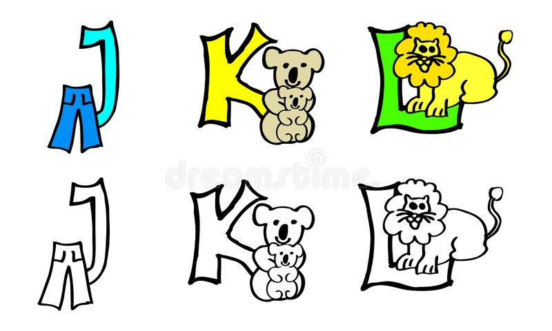 Part 4 j k l coloring book letters with pictures in german and english stock illustration
