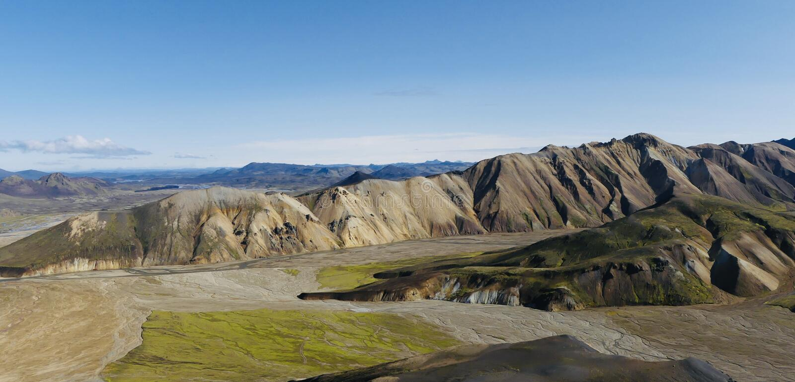 A part of Landmannalaugar rainbow mountains in Iceland. View from Blahnúkur to the most beautiful places in the world - Rainbow mountains stock photography