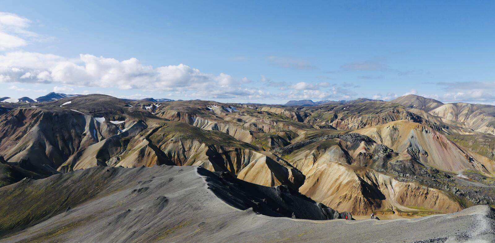 A part of Landmannalaugar rainbow mountains in Iceland. View from Blahnúkur to the most beautiful places in the world - Rainbow mountains stock photo