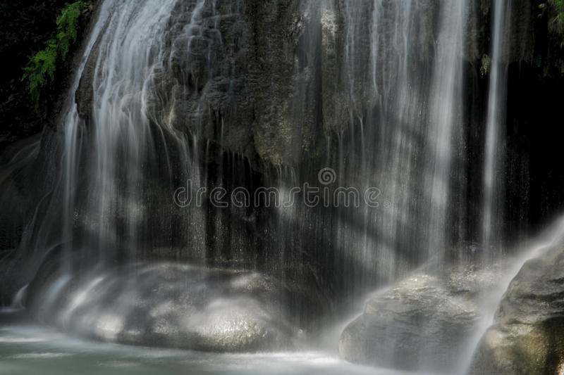 Part of level 2 from Erawan waterfall stock photography