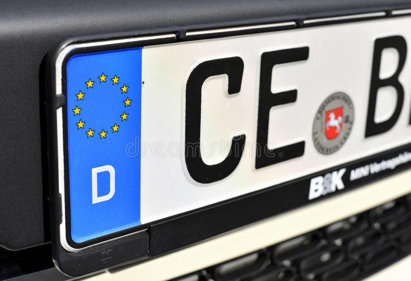 Part of the license plate of the German car. royalty free stock photography