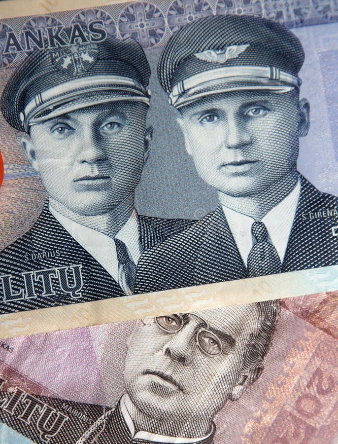 Part of Lithuanian litas. Part of two banknotes of Lithuanian litas stock photography