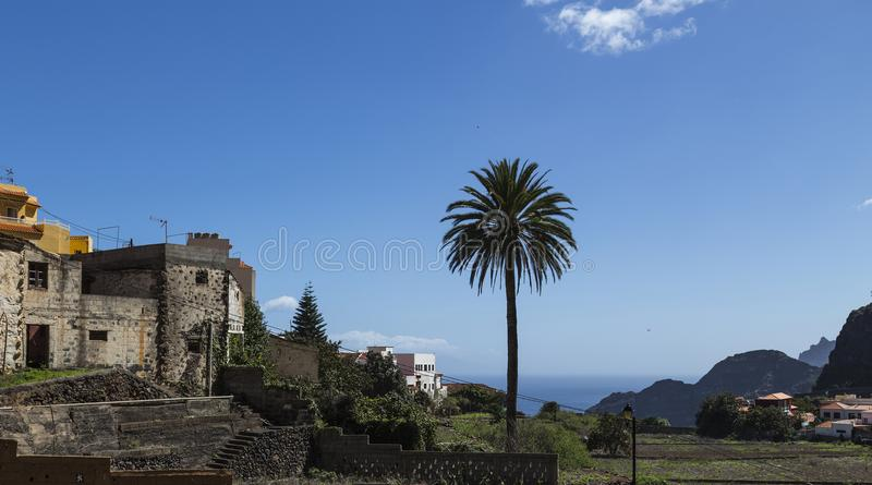 Agulo, La Gomera, Canary Island of Spain. Part of the little city Agulo at the north side of La Gomera. colorful houses make it a cozy village royalty free stock images