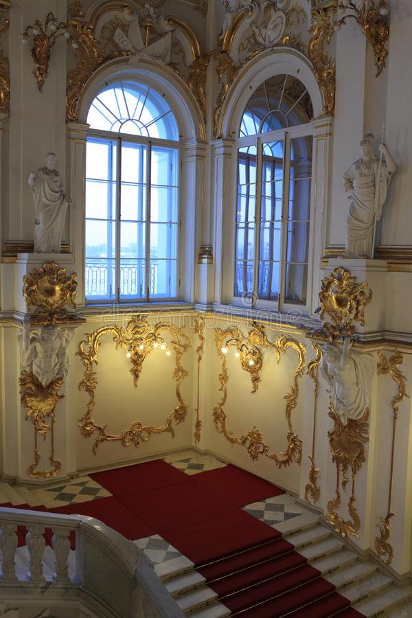 Part of main Staircase of the Winter Palace. Saint Petersburg, Russia royalty free stock images