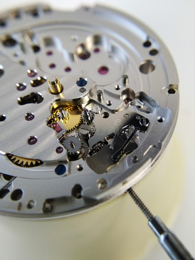 Part of the mechanism of a mechanical watch. Close-up of a mechanical gear royalty free stock photo