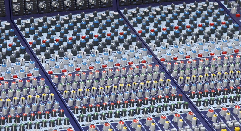Part of the mixer desk stock images