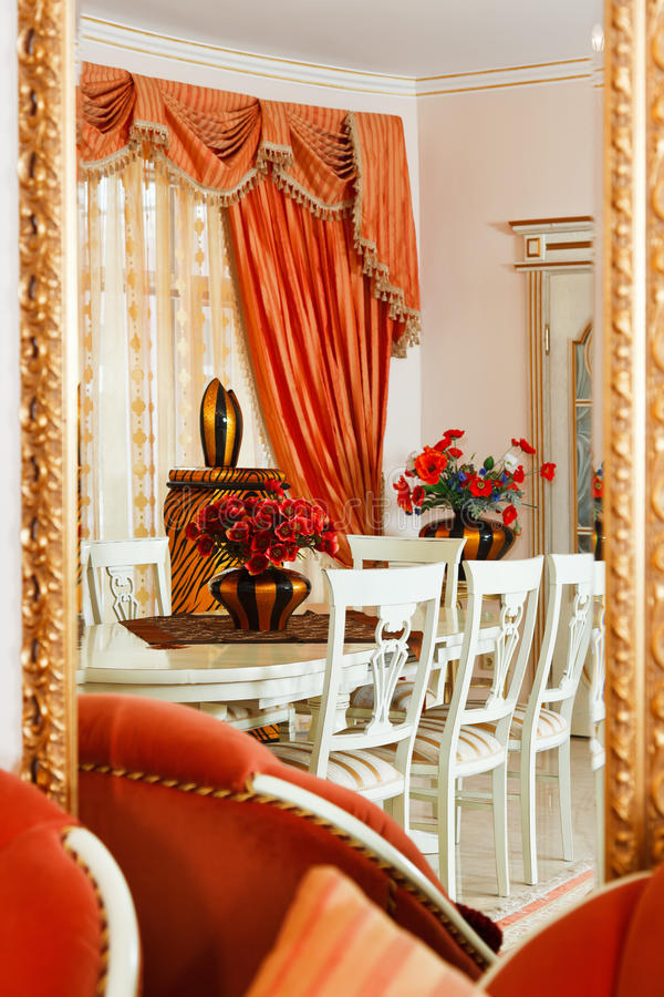 Part of modern art deco style dining room stock images