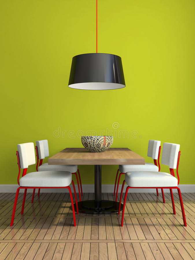 Part of the modern dining-room with green wall stock illustration